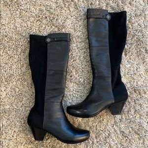 DANSKO Black Leather & Suede Knee High Boots
